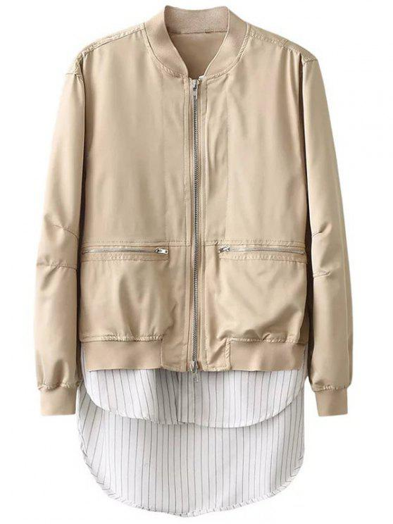 sale Zipped Layered Hem Jacket - COMPLEXION S