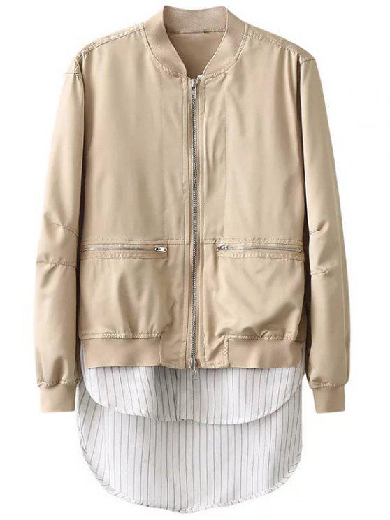 sale Zipped Layered Hem Jacket - COMPLEXION S