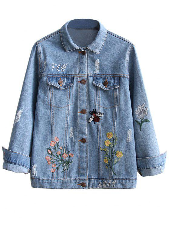 outfits Embroidered Ripped Denim Jacket - LIGHT BLUE S