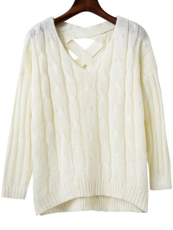lady Crisscross Back V Neck Sweater - WHITE ONE SIZE