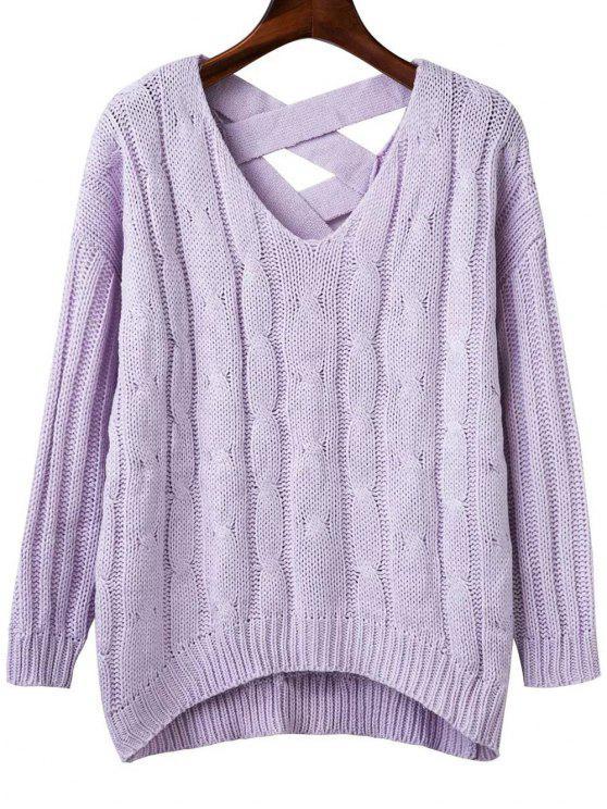 Cruzam Voltar V Neck Sweater - Roxo Claro Um Tamanho