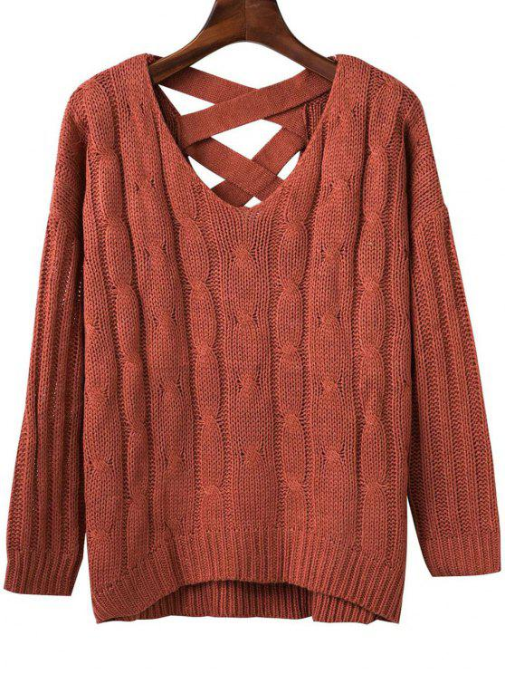 online Crisscross Back V Neck Sweater - JACINTH ONE SIZE