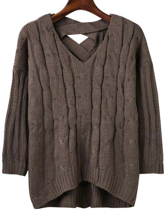 new Crisscross Back V Neck Sweater - BLACKISH GREEN ONE SIZE