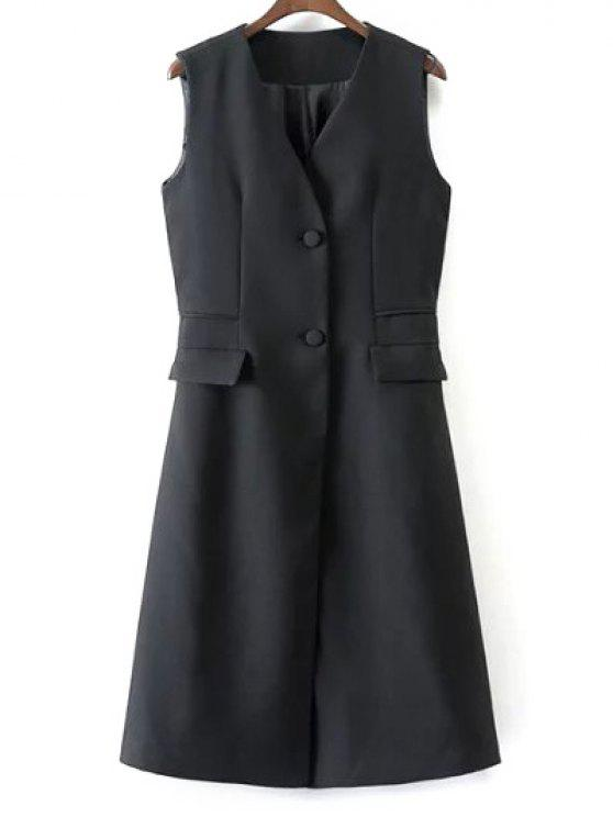 women V Neck Two Buttons Long Waistcoat - BLACK S