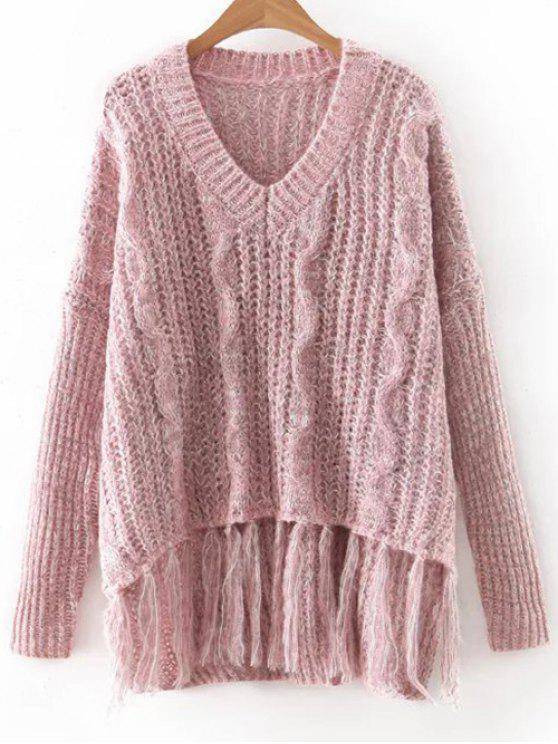 Long Sleeve V Neck Fringes Sweater LIGHT PINK: Sweaters ONE SIZE ...