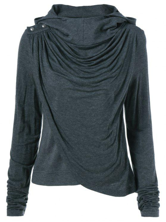 hot Draped Hoodie - BLACK GREY L