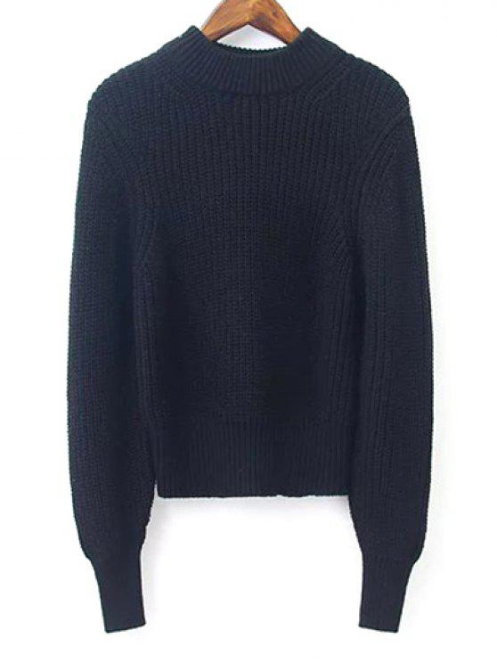 lady Lantern Sleeve Mock Neck Cropped Sweater - BLACK M