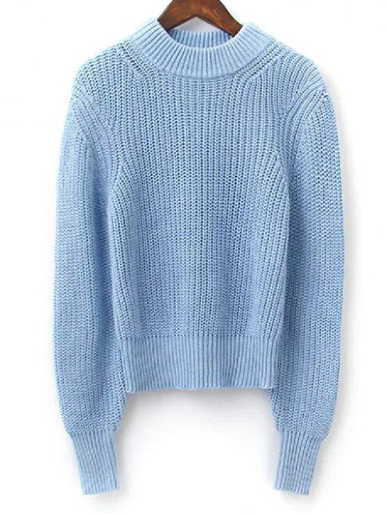 Lantern Sleeve Mock Neck Cropped Sweater LIGHT BLUE: Sweaters M ...