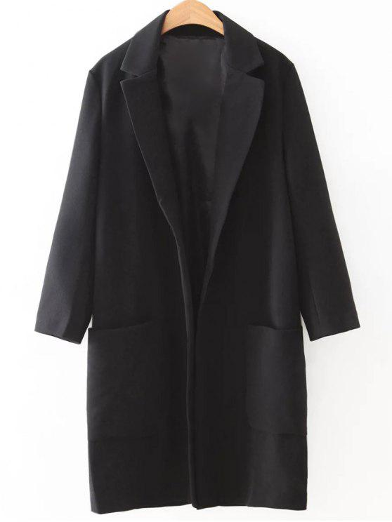 fancy Pockets Lapel Collar Long Coat - BLACK L