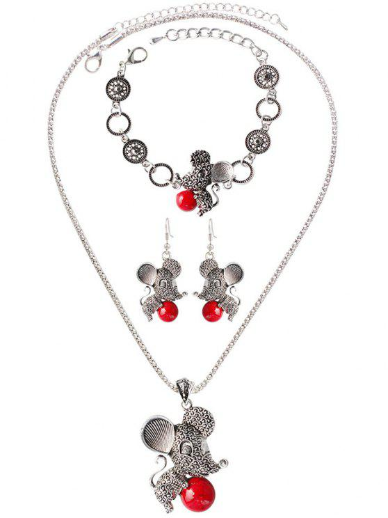 ladies Faux Rammel Ball Mouse Jewelry Set - RED