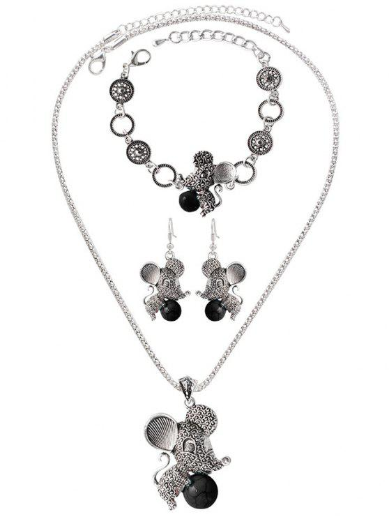 lady Faux Rammel Ball Mouse Jewelry Set - BLACK