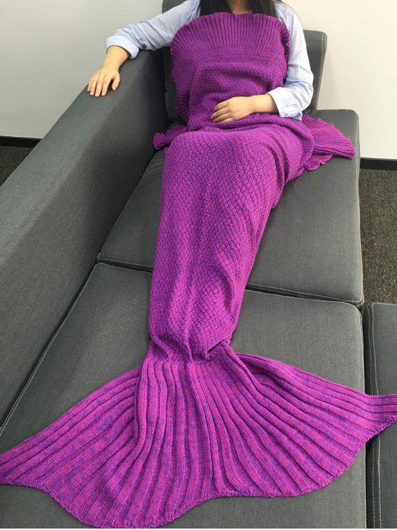 unique Sofa Knitted Mermaid Tail Shape Blanket - PURPLE