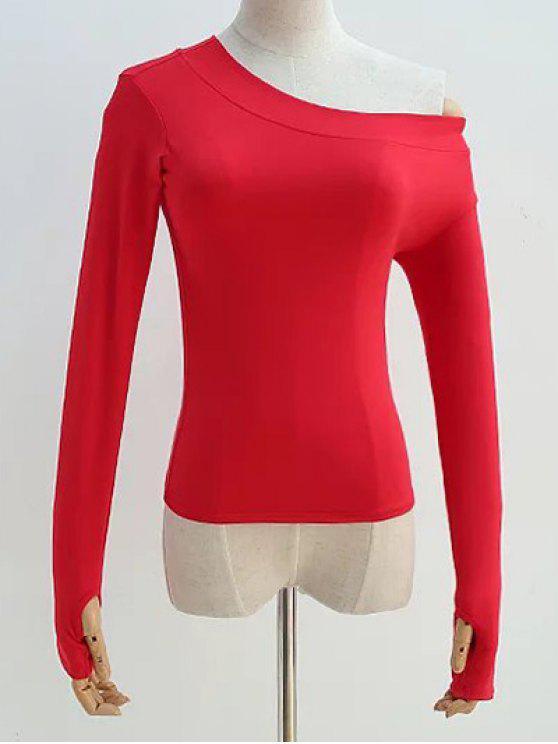 Pendiente del hombro de la manga larga de la camiseta - Rojo S
