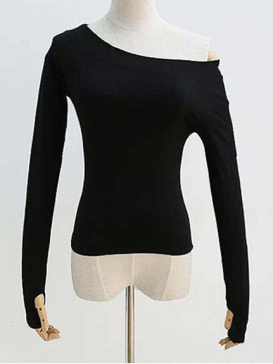 Pendiente del hombro de la manga larga de la camiseta - Negro M