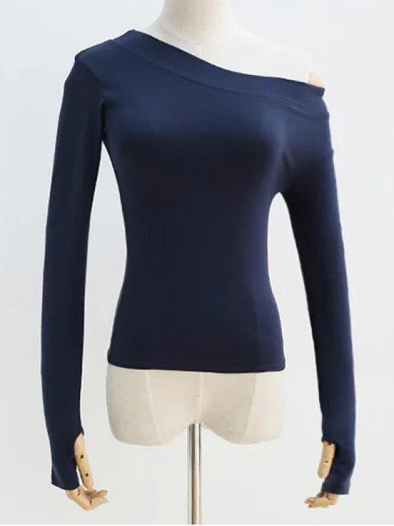 Épaule Pente T-shirt manches longues - Bleu Violet S