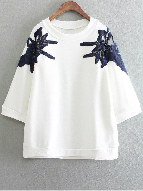 Em torno do pescoço Applique recorte camisola - Branco Tamanho único