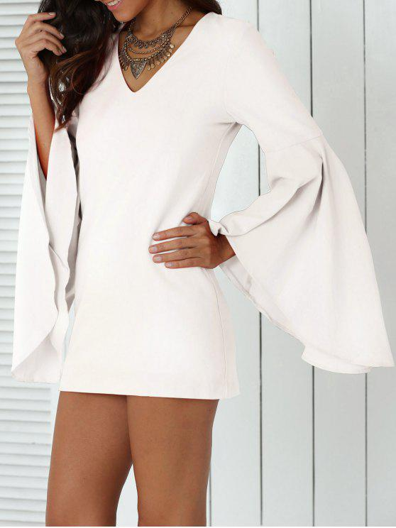 best Solid Color Plunging Neck Flare Sleeve Sheath Sexy Mini Dress - WHITE S