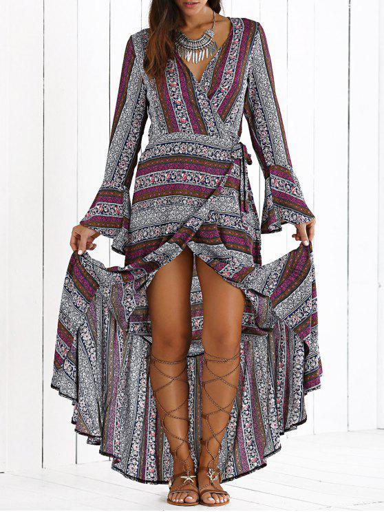 hot High Slit V Neck Bohemian Maxi Dress - PURPLE S