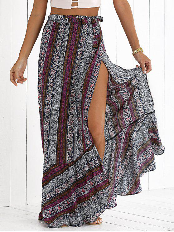 outfits High Slit Bohemian Printed Maxi Skirt - COLORMIX M