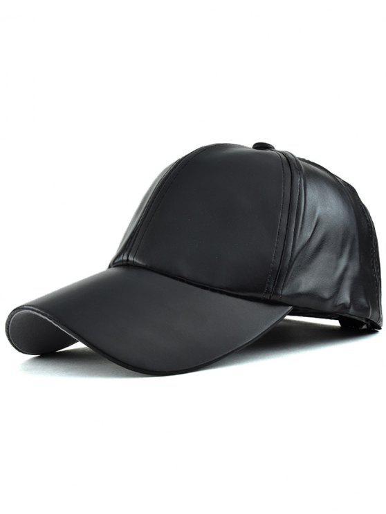 Cuero de imitación del sombrero de béisbol - Negro