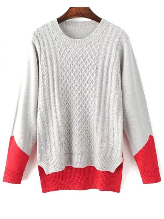 High Low Color Block Sweater - GRAY ONE SIZE