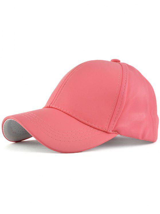 latest Faux Leather Baseball Hat - WATERMELON RED