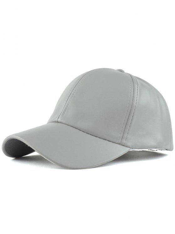 chic Faux Leather Baseball Hat - LIGHT GRAY