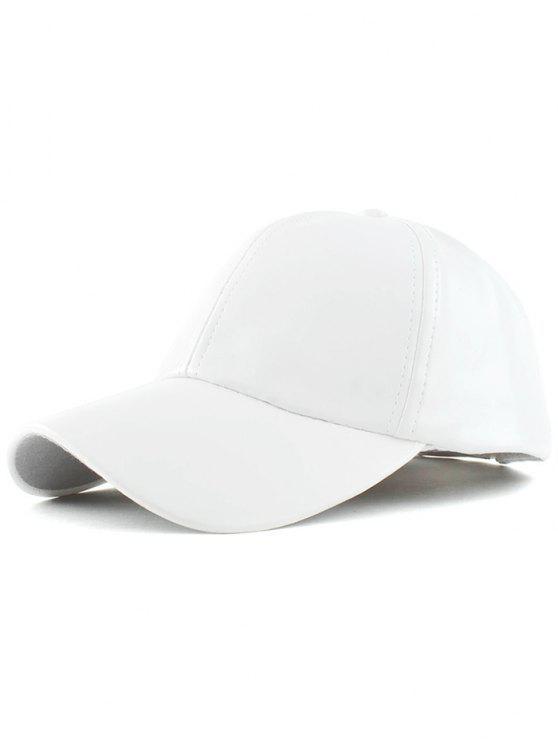 Baseball Faux cuir Hat - Blanc