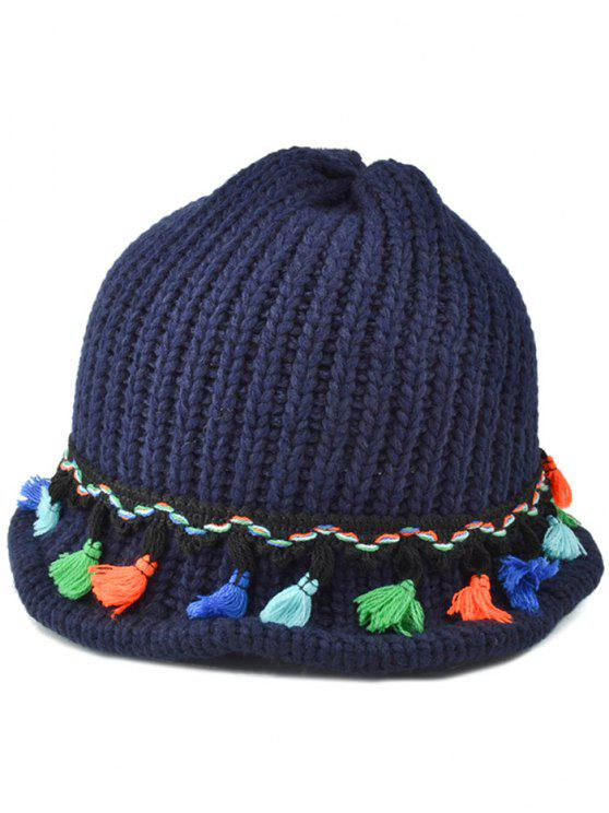 trendy Tassel Pendant Lace-Up Knitted Beanie - CADETBLUE