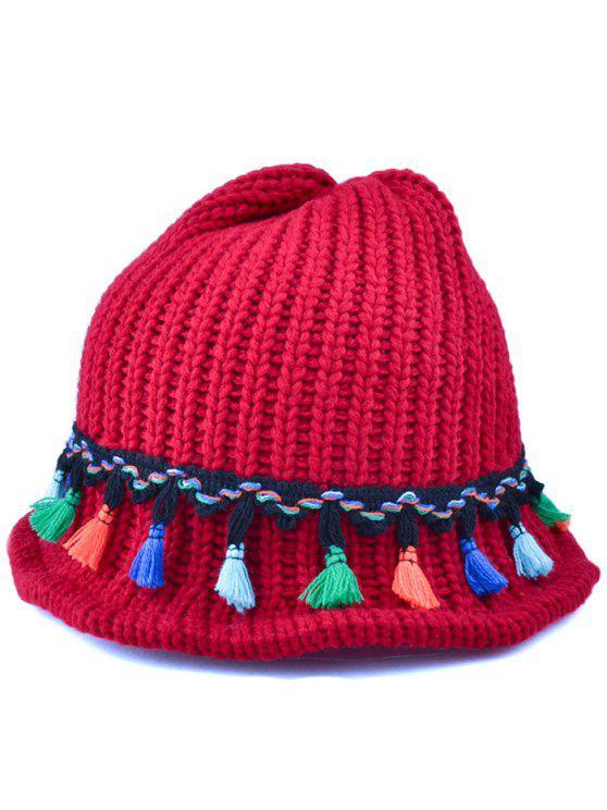 Tassel Pendentif à lacets en tricot Beanie - Rouge vineux