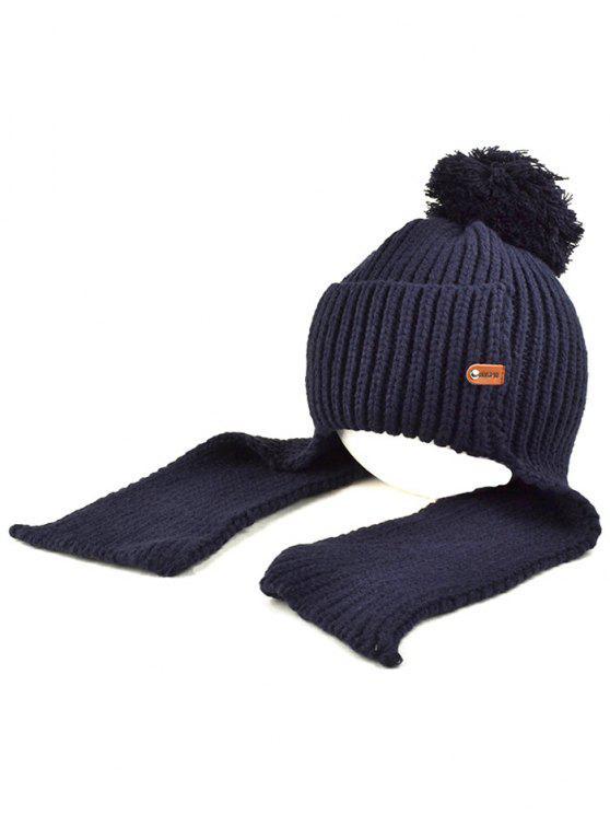 sale Fuzzy Ball Earmuff Knitted Beanie - CADETBLUE