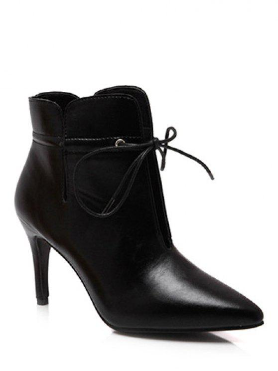 shops Tie Up Pointed Toe Stiletto Heel Boots - BLACK 37