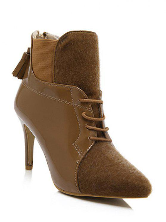 b3889c52971 31% OFF  2019 Tassels Splicing Elastic Band Ankle Boots In BROWN