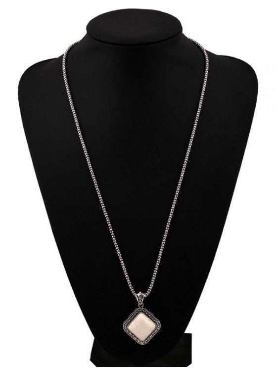 Cadena Faux Rammel colgante suéter geométrico - Blanco