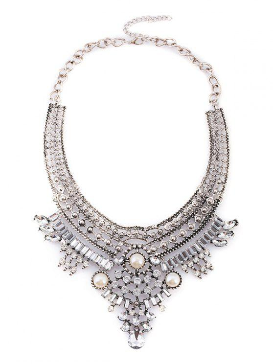 womens Fake Pearl Rhinestone Geometric Necklace - SILVER