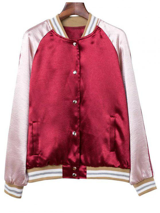 shops Color Block Raglan Sleeve Satin Jacket - RED XS