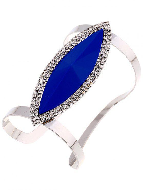 Bracelet Manchette en Alliage Motif Feuille en Strass - Bleu