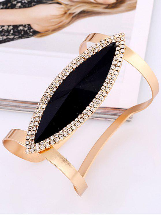 ladies Rhinestone Alloy Layered Leaf Cuff Bracelet - BLACK