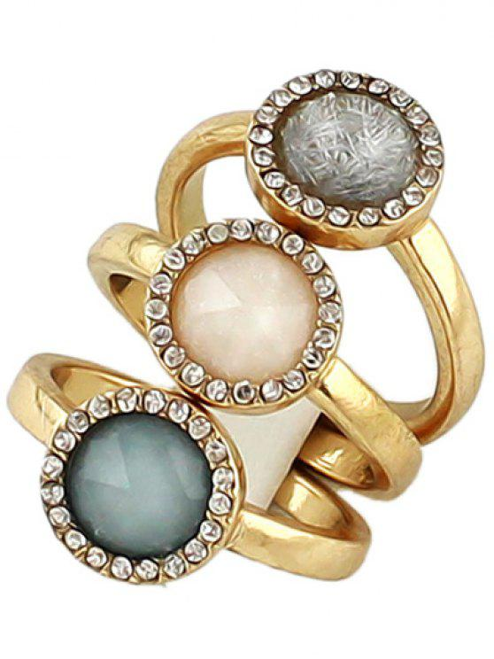 affordable Faux Opal Round Jewelry Rings Set - GOLDEN ONE-SIZE