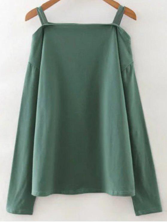Cold Shoulder color sólido de la camiseta - Verde Única Talla