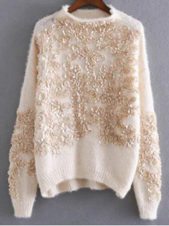 outfit Floral Applique Pullover Sweater - APRICOT ONE SIZE