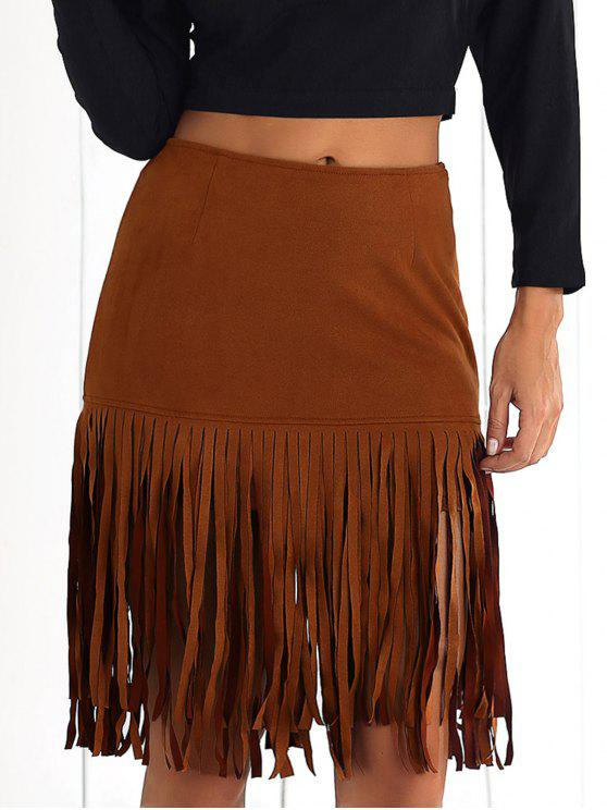 affordable Faux Suede Flapper Skirt - BROWN 2XL
