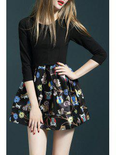 Owl Print Pleated Mini Dress - Black S