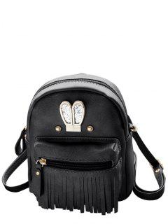 Sequined Rabbit Ears Fringe Backpack - Black
