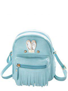 Sequined Rabbit Ears Fringe Backpack - Blue