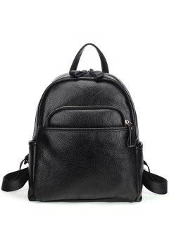 Zips Textured PU Backpack - Black