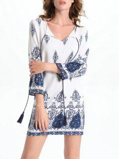 Long Sleeve Round Neck Printed Dress - White M