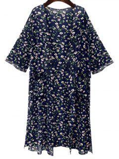 Tiny Floral Print 3/4 Sleeve Kimono - Deep Blue M