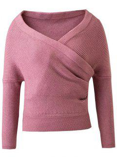 Crossover Cropped Sweater - Pink M