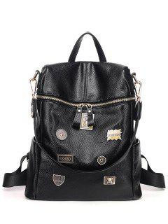 Metal Badges PU Leather Backpack - Black
